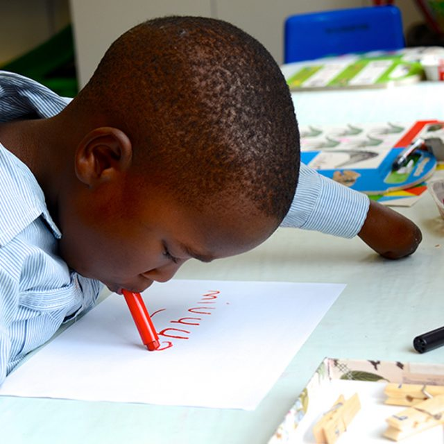 Mvuyo writing his own name 6